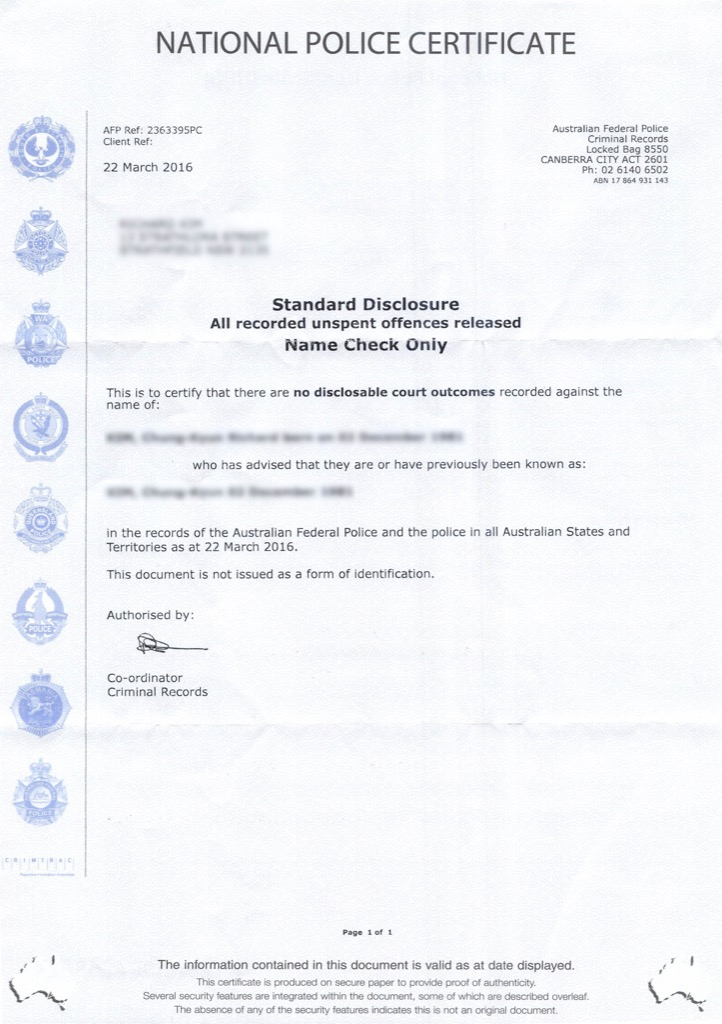 Australian Federal Police Certificate