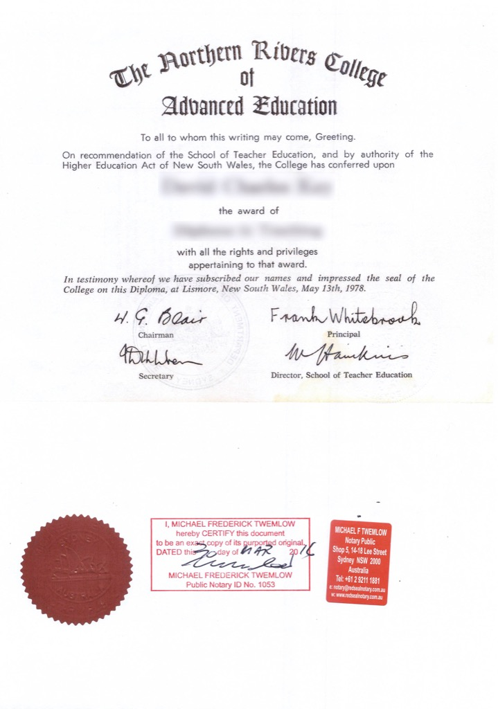 Educational Document Certified by Public Notary